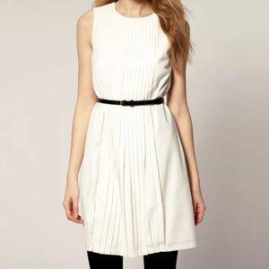 TED BAKER Pleated Sleeveless White Dress